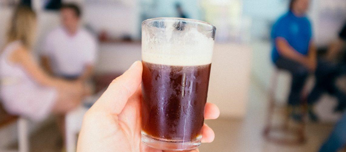 Enjoying cold brew nitro coffee